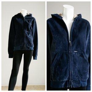 Vintage Carhartt Velour Navy Blue Zip up Hoodie
